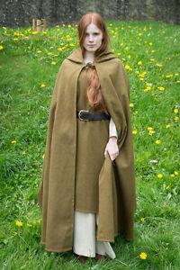 Medieval Hooded Cape Coat Hibernus /Larp - Autumn Green From Burgschneider