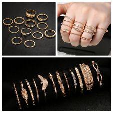 12Pcs Vintage Gold Finger Ring Set Crystal Rhinestone Women Boho Fashion Jewelry