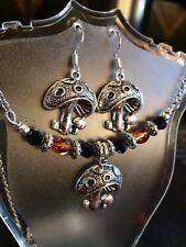 Tibetan Silver Mushroom Chocker Jewelry Set with Crystal