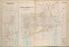 1889 BRIELLE MANASQUAN MONMOUTH COUNTY NEW JERSEY STOCKTON LAKE PLAT ATLAS MAP