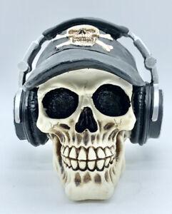 Resin Skull Head With Headphone Ornament Figure Gift