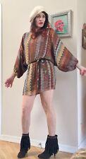 Rare Parker Fall Metallic Lurex Silk Zig Zag Dolman Sleeve Mini dress $320.00