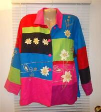 NWT SZ S BALA LONG SLEEVE BUTTON PATCH MULTICOLOR FLORAL EMBROIDED BLOUSE TOP