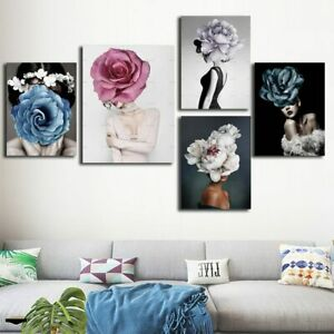Abstract Gilrs with Flowers Portrait Canvas Poster Painting Pictures Wall Art