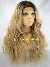 360 FREE PART HUMAN HAIR BLEND LACE FRONT WIG LONG OMBRE BROWN ASH BLONDE NWT