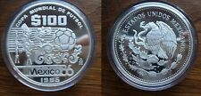 1985 Mexico Large Proof Silver 100 pesos-World Cup Soccer-Ball/Ancient Figures