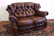 Divano chesterfield chester inglese 2 posti colore marrone / pelle / leather