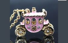 Betsey Johnson Necklace  CINDERELLA PRINCESS Carriage PINK Gold CRYSTALS