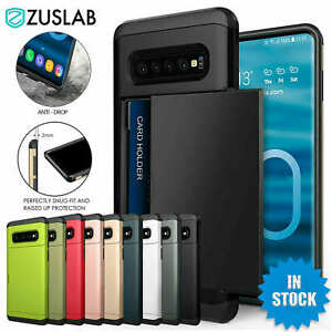 For Galaxy S10 S10e S9 S8 Plus Note9 Case Slide Armor Wallet Card Slots Holder