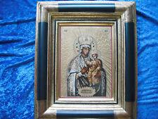 Hochwertige Porzellan Ikone: Goldene Madonna mit Kind verziert mit Edelsteinen.