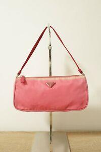 Authentic PRADA Nylon Tessuto Sport Mini Red hand hobo bag #8838
