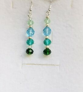 Stunning Mint Turquoise Aqua Emerald Italian Crystal Drop Earrings