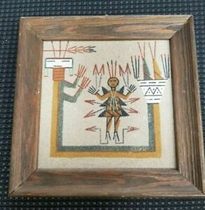 """Navajo Native American Indian Sand Painting """"Slayer w/ Rainbow"""" Signed Allen   R"""