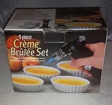 New listing 5 Piece Creme Brûlée Set - 1 Torch & 4 Ceramic Ramekins