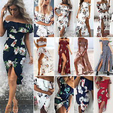 Women Floral Off Shoulder Long Maxi Dress High Split Holiday Retro Boho Sundress