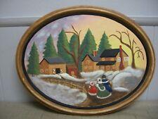 Ceramic Picture Plaque Raised Winter Snow Scene Hand Painted HASSINGER MOLD 1981