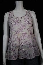 Mossimo Supply Misses SMALL Purple White Deer Print Sheer Peplum Tank Shirt Top