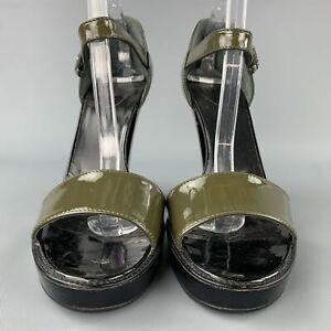PRADA Size US 9.5 / EU 39.5 Olive & Black Patent Leather Platform Sandals