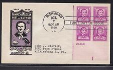 SCOTT 986 EDGAR ALLAN POE IOOR PLATE BLOCK FIRST DAY COVER FDC  #4 OF 13