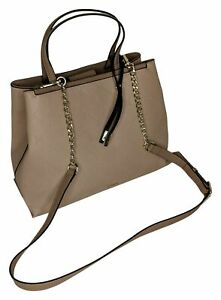 Nine West Sz Large Double Up Desk to Dawn Satchel Bag Beige Handbag A430759