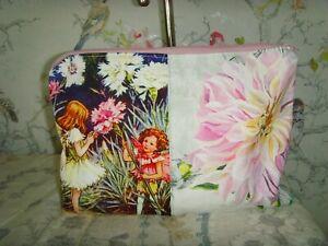 26cm x 18cm  PINK FLOWER FAIRY  PURSE COSMETIC BAG ZIP DESIGNERS GUILD FAIENCE