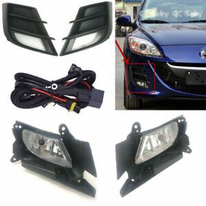 2Pcs Front Grills Bumper Driving Halogen Lamp Fog Lights Fit For Mazda 3 2011-15