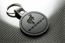Handmade Leather Keychain Keyring for Ford Bronco (Roundel)