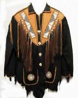 New Men's Genuine Suede Leather Jacket Coat with Intricate Fringes & Beads Work