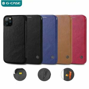 G-CASE for iPhone 13 12 Pro Max 11 Vintage Business Flip Case Leather Slot Cover