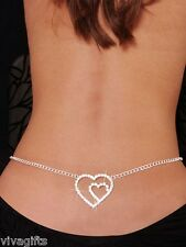 Navel or Back Fashion Jewellery Ladies Diamonte Bling Double Heart