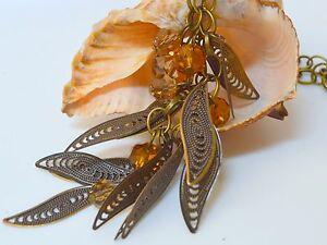 Lange Vintage Kette Halsschmuck Halskette Honey Grapes Bronze