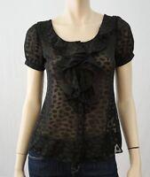 ARMANI COLLEZIONI Short Sleeve Ruffled Black Tonal Print Button Blouse 2