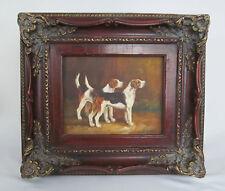 Vintage Artist Signed Beagle Dog Pair Framed Original Painting on Board - NICE!