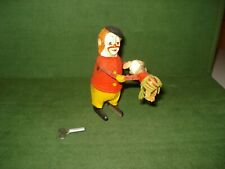 1950's SCHUCO WIND-UP CLOWN AND DOG TOY, CLOCK WORK MOTOR, WORKS, GERMANY