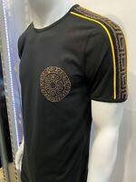 New Mens Short Sleeve Very Slim Fit T-Shirt Black Gold Greek Rhinestones Cotton