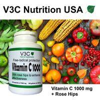 Antioxidant Vitamin C with Rose Hips V3C Nutrition USA 1000 mg - 100 caps