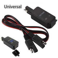 Waterproof SAE Cable Adaptor Dual USB Charger Voltmeter for Motorcycle Car Boat