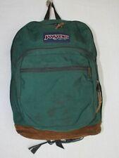 VTG  Jansport Backpack Leather Bottom Green Brown USA Made 3 Pocket