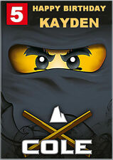Black Ninja Lego Ninjago Birthday Card A5 Personalised own words
