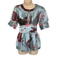 BCBG Maxazria Blouse Women's Small Keyhole Tie Back Floral Short Sleeve Top
