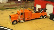 CUSTOM BUILT DCP ORANGE PETE 389 SEMI CAB TOW TRUCK HEAVY DUTY WRECKER 1:64/
