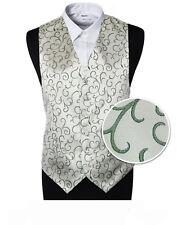 "Boy's Silver Green Scroll Wedding Page Boy Waistcoat - Size 30"" (9-10 Years)"