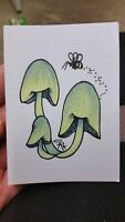 Original OOAK drawing ACEO ATC 2.5 x 3.5 Signed yellow green Mushroom pencil