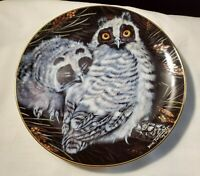 "Danbury Mint 1988 Dick Twinney Baby Owls Collection LONG EARED OWLS 8"" Plate (38"