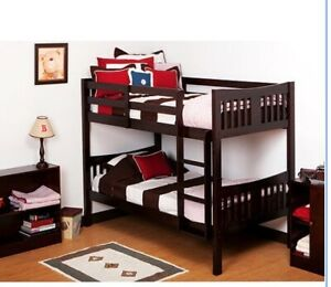 Storkcraft Caribou Twin Over Twin Solid Hardwood Bunk Bed Espresso
