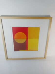 Sunset by Amaina Framed Modern Abstract Art MCM Lithograph Print 90's IKEA