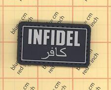 PVC BLACK INFIDEL PATCH AFG/PAK ISAF JSOC TEAM ARABIC DARK OPS USA MILITARY b6