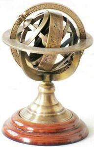 Brass armillary sphere zodiac astrology world globe el vintage desktop gifts
