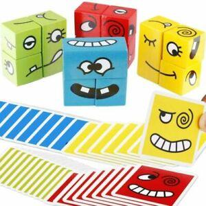 Gesichtsverändernde Holzwürfel Bausteine Ausdrücke Matching Block Puzzle Kinder