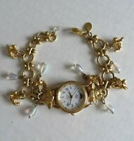 Vtg 80s KIRK'S FOLLY Lady Watch Cherub Angels Charm Bracelet Retired VERY RARE!